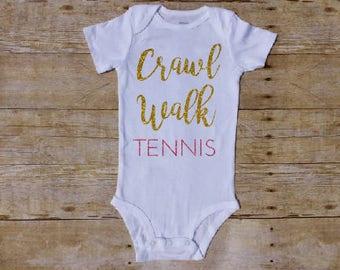 Crawl Walk Tennis, Tennis Baby, Tennis Mom, Tennis Dad, Future Tennis Player, Baby Girl Tennis, Tennis Parent, Tennis Baby Shirt, Baby Gift