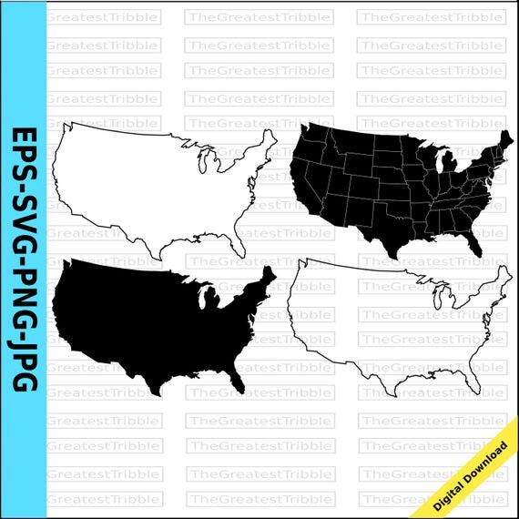 US States Map Eps Svg Png Jpg Vector Graphic Clip Art Silhouette - Us map outline vector