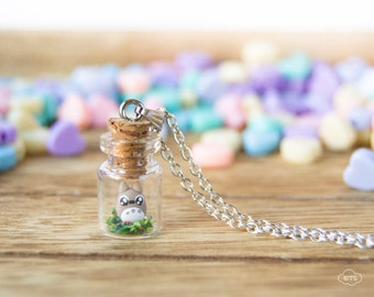 Tiny bottle necklace Totoro – kawaii pendant mini tiny vial cute miniature