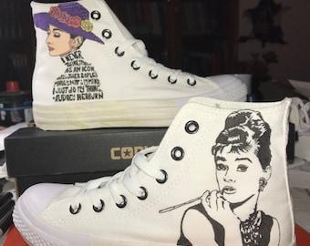 Converse All Star Custom Shoes/custom shoes Audrey Hepburn