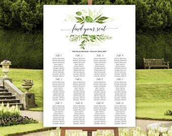 Wedding Seating Chart Template, Greenery Wedding Seating Chart, Seating Chart Poster, DIY Seating Chart, Seating Plan, Editable Template