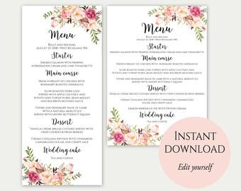 Wedding Menu Printable, Wedding Menu Template, Wedding Menu, Dinner Menu, Printable Menu, Editable Template, Floral Menu, Instant Download