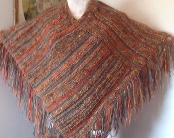 Stylish handknit Poncho, Green, orange, copper