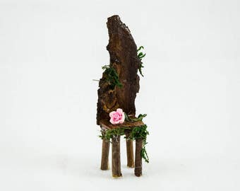 Fairy Twig Chair with Pink Rose, Fairy Garden Item, Faerie Accessories, Fairy Furniture, Whimsical Chair, Faerie Decor, Mini Chair,Gift idea