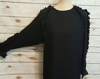 Vintage, 70's, Neiman Marcus ruffled shoulder dress, Avant Garde, Medium