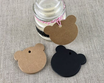 Teddy Bear Gift Tags - Kraft Brown Qty 10, 25, 50, 2 inch, Hang Tags, Blank Tags, Price Tags, Shower Gift Tags, Birthday, Child Gift,