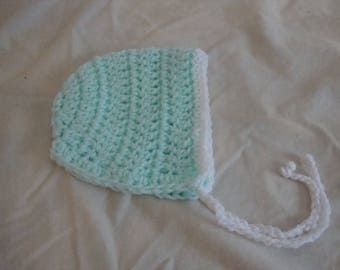 Crocheted Baby Bonnet, Green Baby Bonnet, 0-3 mos Baby Bonnet, 3-6 mos Baby Bonnet, Baby Hat, 0-3 mos Baby Hat, 3-6 mos Baby Hat