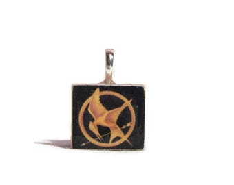 Hunger Games Mocking Jay Pin Key Chain or Necklace Charm