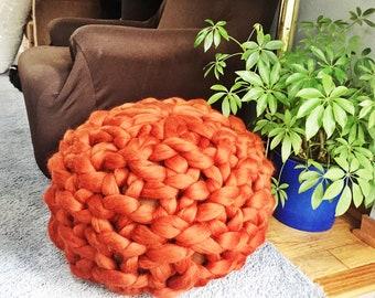 Ottoman, Pouf, Floor Stool, Floor Pillow, Merino Wool Ottoman, Chunky Knit Ottoman, Chunky Knit Pouf, Knitted Ottoman, Floor stool