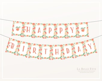SWEET as a PEACH Happy Birthday PRINTABLE bunting / banner party decoration in pink, blush and gold with watercolor peaches