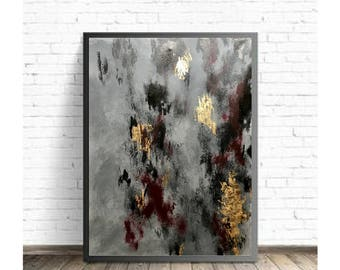 "Gold Leaf, Maroon and Grey Abstract Painting (20"" x 24"")"