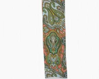 90s Talbots Long Skinny Scarf Paisley Print 67 X 4 Neck Scarf or Headscarf, Neck Bow, Headband