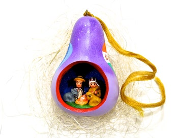VINTAGE: 1980's - Peru Burilado Nativity Ornament - Feather Tree Ornaments - Small Ornaments - (15-F2-00006836)