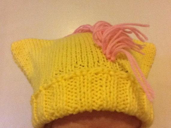 Yellow Pony Hat - Hand-Knit Hat with Ears and Fringe - My Little Pony Fluttershy