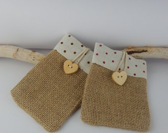 Natural jute bag jewelry holders-gift box-Christmas-fabric bag