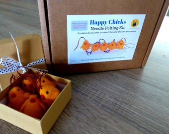 Needle felting KIT, Easter chicken decorations DIY kit with instructions and video tutorial, Five felted Easter chicks crafts kit