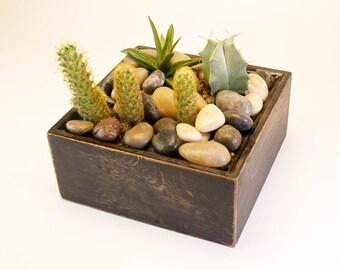 Black Wooden Centerpiece, Rustic Wood Centerpiece Box, Wedding Decoration, Square Planter, Succulent Centerpiece, Distressed  Planter
