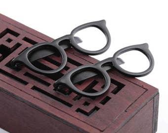 Men's  Formal Glasses Tie Clip  Black Glasses,Tie Bar,Retro Tie Clip, Gift for Boyfriend ,Gift for Dad,Gift for Friend,Gift forHim
