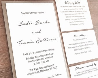 Personalised Wedding Invitation Set With Wishing Well, RSVP, Reception & Envelope option