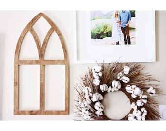 small vintage church style wooden window frame