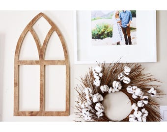 Small Vintage Church Style Wooden Arch Window Frame