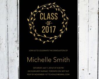 Graduation Invitation, Wreath, Gold, Black, Modern, Graduation Announcement, Printable, Printed