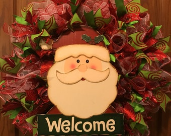 Santa Welcome Wreath, Christmas Welcome Wreath, Santa Head Wreath, Holiday Wreath, Christmas Wreath
