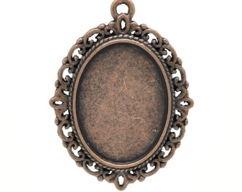 Cabochon Tray in Antique Copper Finish, Holds 25 mm x 18 mm Cabochon (1659)