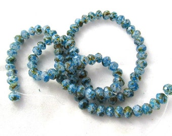 1 Strand Spray Painted 6mm Faceted Rondelle Glass Beads Blue/Gold/White (B145f4)