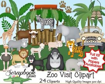 ZOO VISIT! Clipart, 24 png Clipart files, Instant Download gorilla elephant zebra giraffe hippo rhino ostrich lion tiger jungle safari
