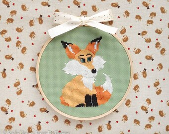 Lily the Fox Cross Stitch Pattern PDF | Cute Woodland Pattern | Easy | Modern | Beginners Counted Cross Stitch | Instant Download