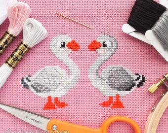 Gorgeous Goose Geese Cross Stitch Pattern PDF | Cute Little Bird | Easy | Modern | Beginners Counted Cross Stitch | Instant Download