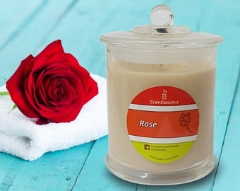 Mothers Day Rose Scented Clear Glass Soy Candle Small Jar