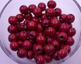 30 pcs 10mm Red Wood Beads   10mm Beads, Necklace Beads, Bracelet Beads, Natural Beads, 10mm Wood Beads