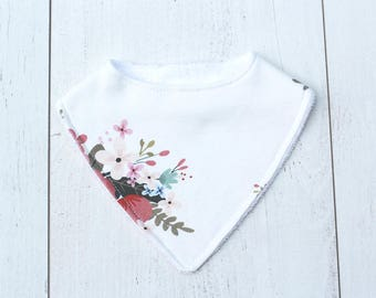 Organic Baby Bib // Pretty Posy in Cream // Organic Jersey // Adjustable // Baby Shower
