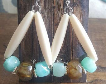 Shell Turquoise and Brown Earrings