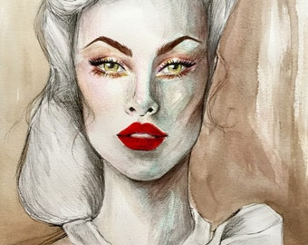1940's Inspired Original Watercolor Fashion Illustration Painting
