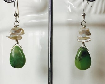 Chrysoprase and Keshi Pearls Earrings!