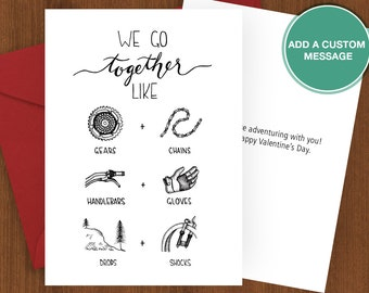 Mountain Biking Card, greeting card, A7 print, mountain bike, biking, love, partner, adventure, we go together, Sherpa Ant, anniversary, 5x7