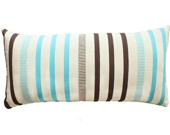 Blue and Brown Stripes Pillow Cover