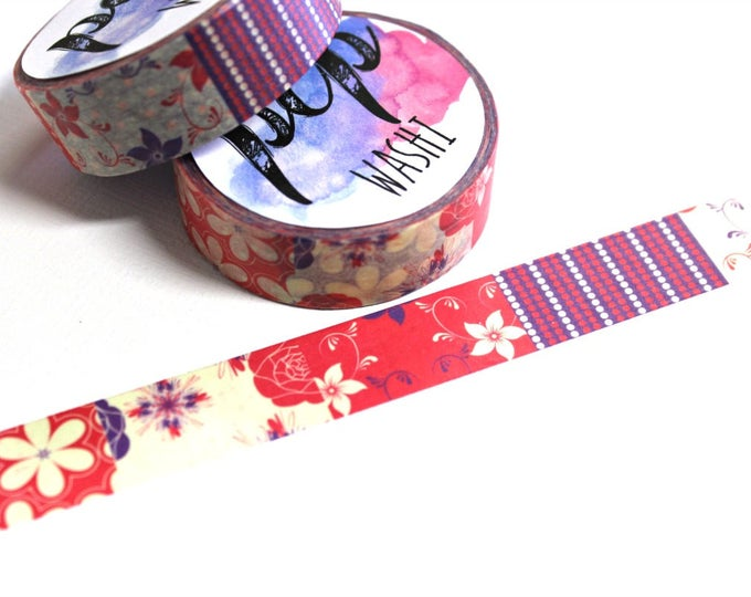 Flower Patchwork Washi Tape - Washi Tape - Flower Washi Tape - Paper Tape - Planner Washi Tape - Washi - Decorative Tape - Deco Paper Tape