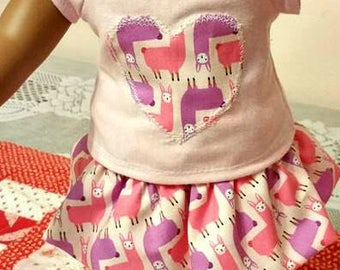 Three Piece Set Pink Knit  Top Llama Love  Skirt Pink Knit Leggings fits American Girl