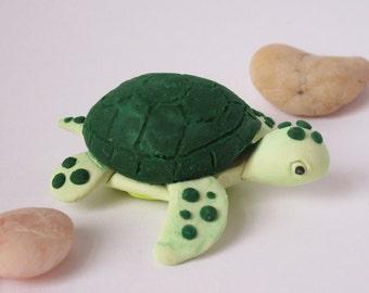 Polymer Clay Sea Turtle, Handmade Green Sea Turtle, Sea Turtle Sculpture, Sea Turtle Figurine, Clay Animal, Ocean Decor