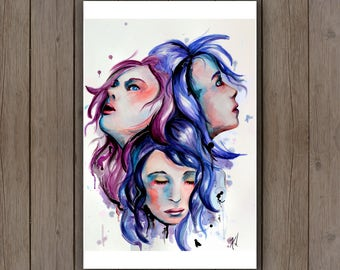 Watercolour Art Print - Three Faces Portrait / Beautiful Women / Splatter Handpainted Watercolor Painting / Surreal Psychedelic Art