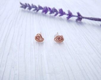 Dainty Rose Earrings, Rose bud studs, Simple Stud Earrings, 14k Gold Rose Gold Earrings, Delicate Rose Earrings, Gold Filled Stud Earrings