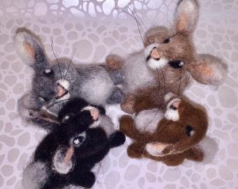 Needle felted rabbit, needle felted bunny, Easter bunny, Easter rabbit, wool Easter, spring animal, wool spring, wool rabbit, wool bunny