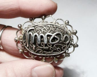 Sterling Silver Arabic Brooch 1930s Vintage Filigree Script Writing 925 Ornate Ethnic Calligraphy Oval Shape