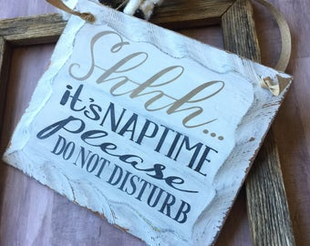 Baby Shower Gift, Door Nap Sign, Naptime Sign, Nap Time, Do Not Disturb, Bed Time, Time To Sleep, Shhh it's naptime, Wood Decor, Home Decor