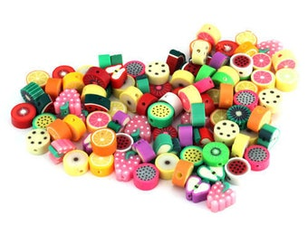 Fruit Beads, Fruit Slices, Polymer Fruit, Polymer Beads, Clay Beads, 10mm Beads, Fruit Jewellery, Fruit Jewelry,