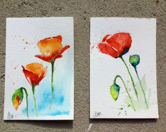 Set of two postcards with envelopes - original watercolours poppy - free shipping (red green flowers wishes painting art